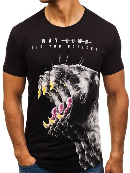 T-shirt con stampa da uomo nera Bolf 181519-A NERO f5414cb6d00