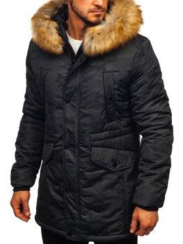 Giubbotto invernale tipo parka da uomo nero Bolf 1091